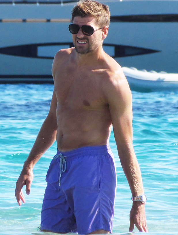 Steven Gerrard is spotted on holiday in Ibiza