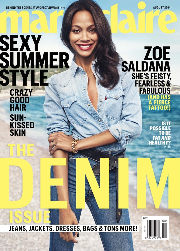 Zoe Saldana on the August 2014 cover of Marie Claire