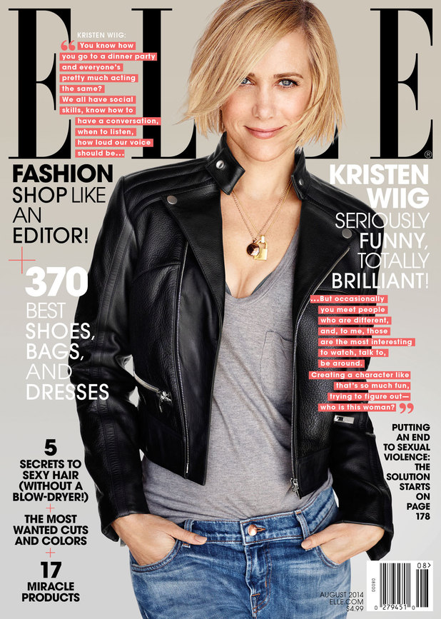 Kristen Wiig covers the August 2014 issue of Elle magazine