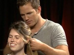 Chris Pratt ties a French braid