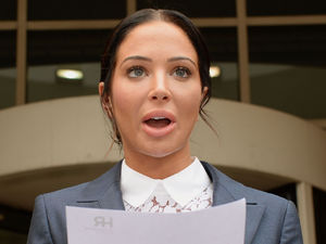 Tulisa Contostavlos makes a statement outside Stratford Magistrates' Court on July 25, 2014