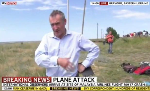 Sky News reporter Colin Brazier at MH17 crash site