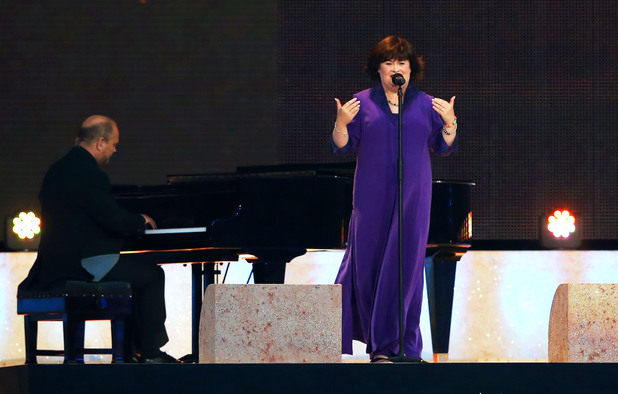 Susan Boyle performs 'Mull of Kintyre' with Pianist Kennedy Aitchison during the Opening Ceremony for the Glasgow 2014 Commonwealth Games