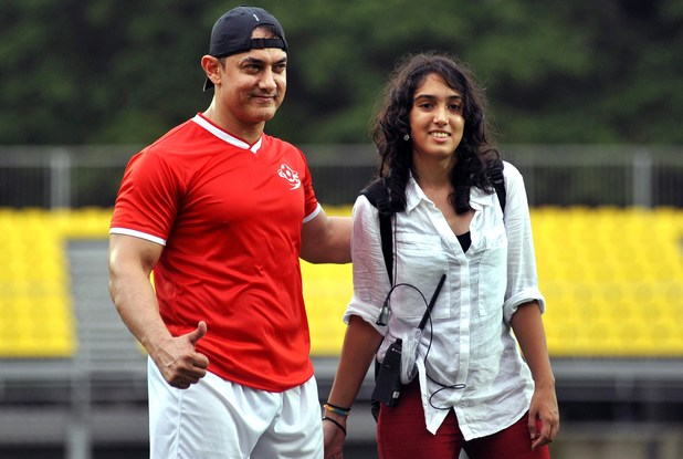 Aamir Khan poses with his daughter Ira Khan at a charity football match organized by Ira Khan