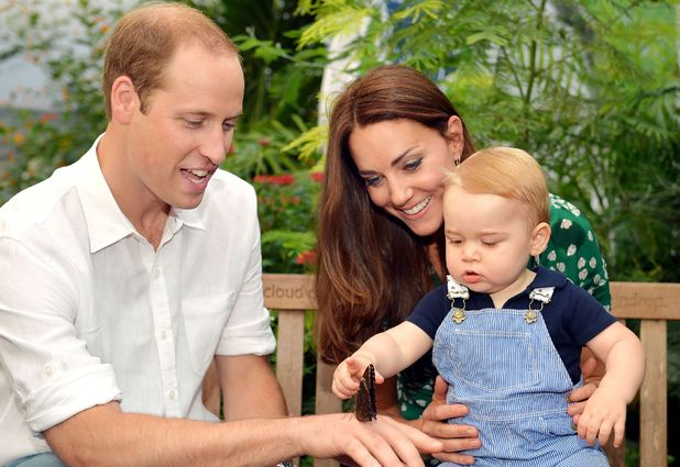 Prince William, Kate Middleton and Prince George on a visit to the Sensational Butterflies exhibition at the Natural History Museum, London