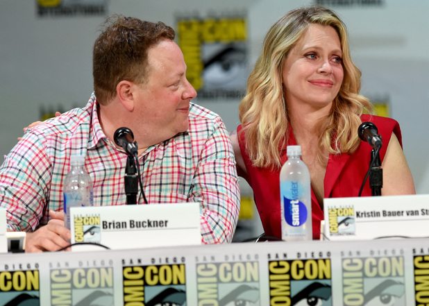Producer/writer Brian Buckner (L) and actress Kristin Bauer van Straten attend HBO's 'True Blood' panel during Comic-Con