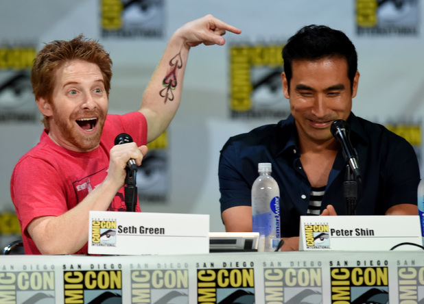 Actor/producer Seth Green (L) and director/producer Peter Shin attend FOX's 'Family Guy' panel during Comic-Con