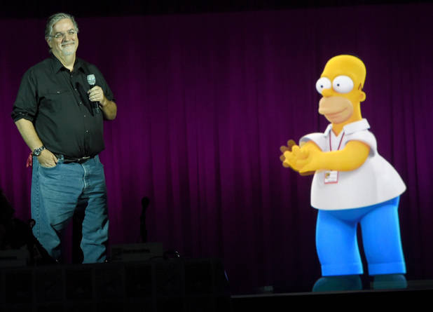 Matt Groening with projection of Homer Simpson during FOX's 'The Simpsons' panel
