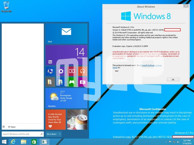 Purported leaked screenshot from Windows 9