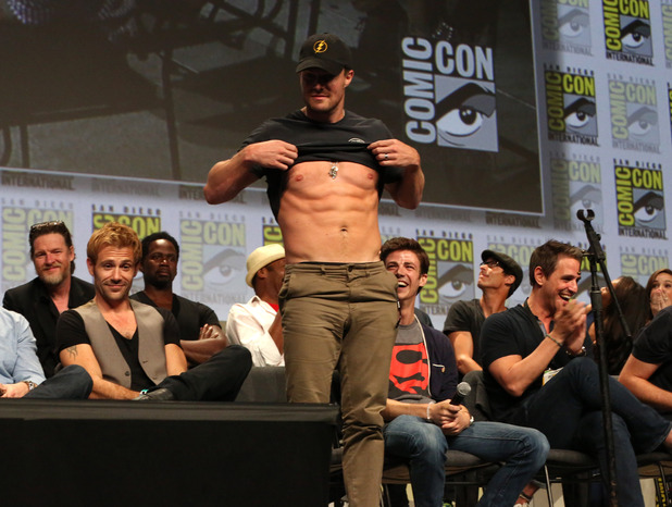 Stephen Amell with stars and executive producers from Gotham, Constantine, The Flash and Arrow attend the 'Warner Bros. Television Presents A Night of DC Entertainment' at Comic-Con