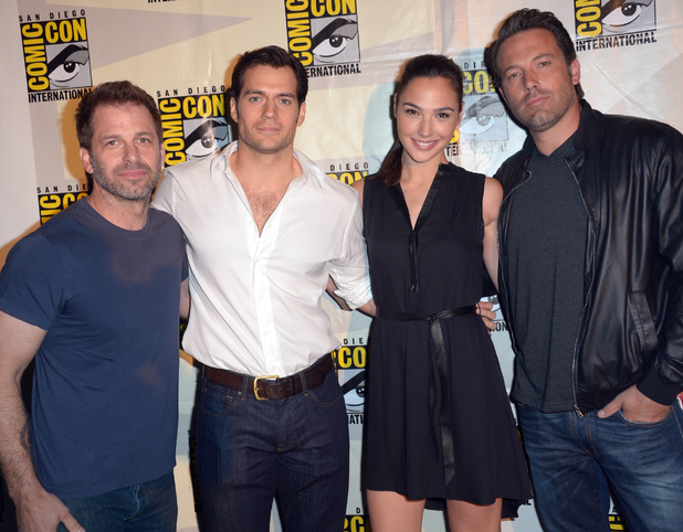 Director Zack Snyder, actors Henry Cavill, Gal Gadot and Ben Affleck attend the Warner Bros. Pictures panel and presentation