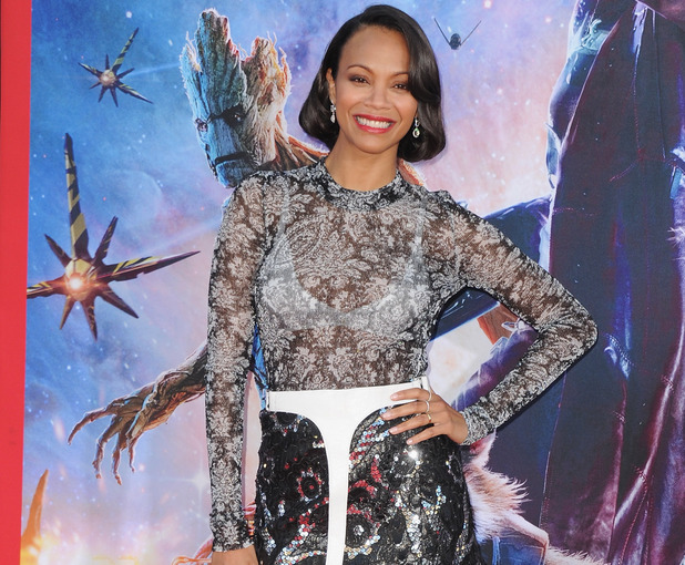 HOLLYWOOD, CA - JULY 21: Actress Zoe Saldana arrives at the Los Angeles Premiere 'Guardians Of The Galaxy' at the El Capitan Theatre on July 21, 2014 in Hollywood, California. (Photo by Jon Kopaloff/FilmMagic)
