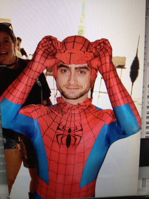 Daniel Radcliffe dressed as Spider-man at Comic-Con 2014