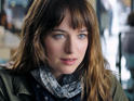 "Watch the actress defend Christian Grey and Anastasia Steele's ""twisted love story""."