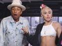 Pharrell Williams and Miley Cyrus in 'Come Get It Bae' music video.