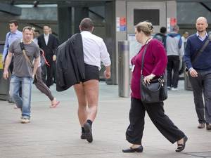 A passer-by looks on as Channel 4 launches new 4oD Shorts with City of London stunt.