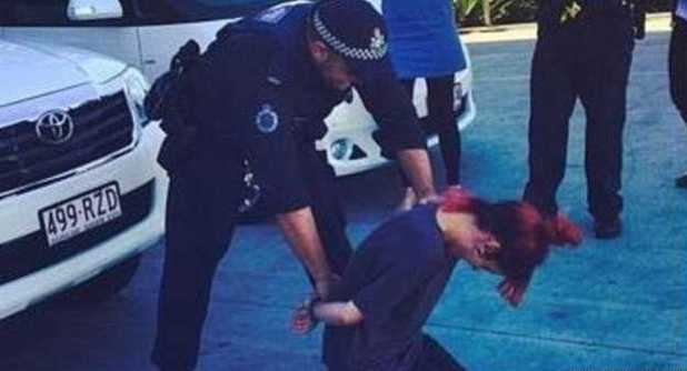 Lily Allen in a staged arrest in Australia