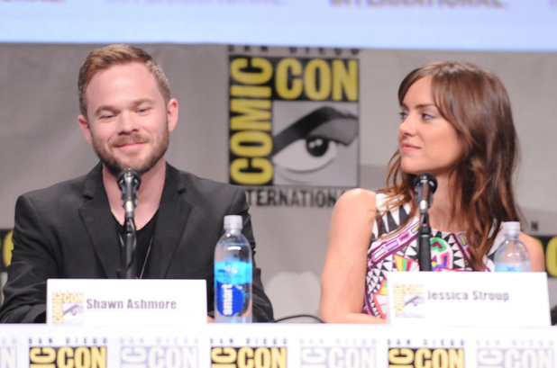 Actors Shawn Ashmore and Jessica Stroup attend FOX's 'The Following' press line during Comic-Con