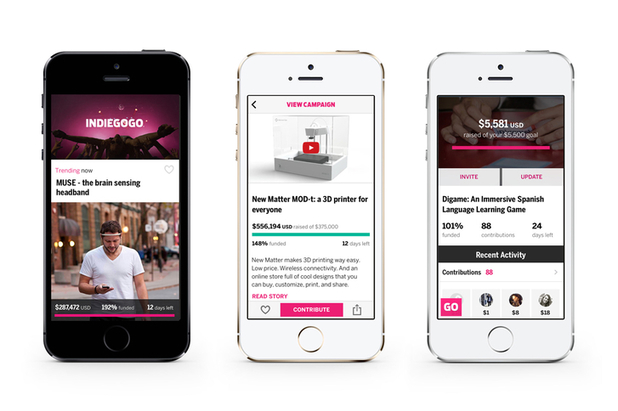 The Indiegogo app for iPhone