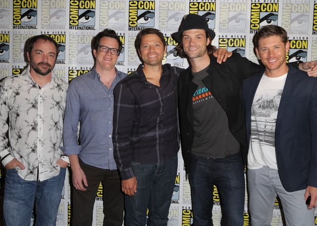 Actor Mark Sheppard, writer/producer Jeremy Carver, actors Misha Collins, Jared Padalecki and Jensen Ackles attend the 'Supernatural' press line
