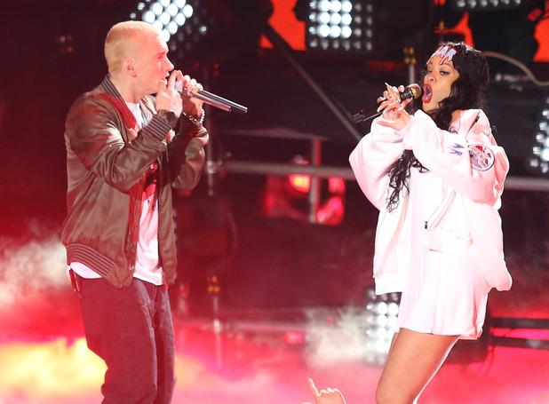 Eminem and Rihanna perform at the MTV Movie Awards