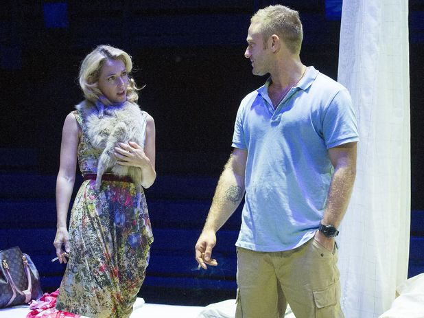 Gillian Anderson as Blanche DuBois & Ben Foster as Stanley in A Streetcar Named Desire performed at the Young Vic theatre in London