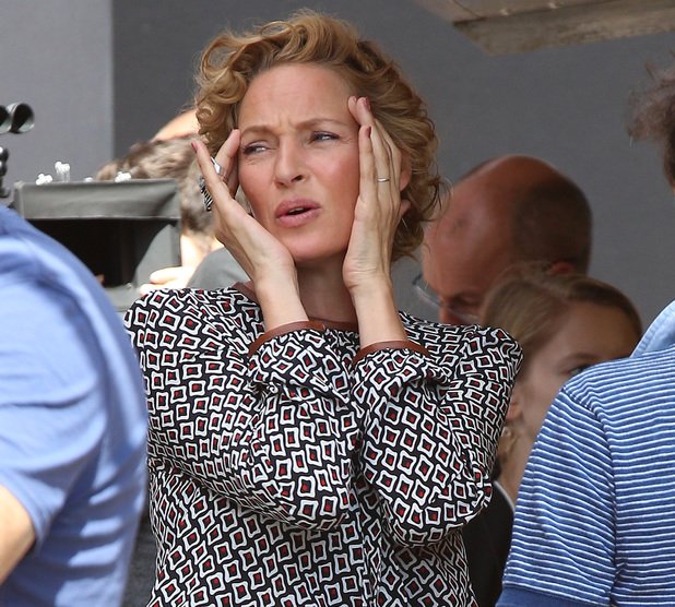 LONDON, ENGLAND - JULY 30: Uma Thurman seen on the film set of 'Adam Jones' on July 30, 2014 in London, England. (Photo by Neil P. Mockford/GC Images)