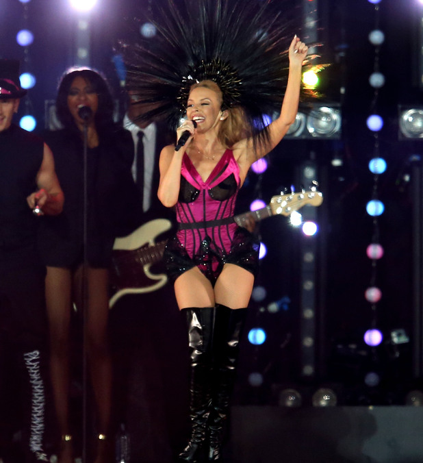 Kylie performs at the Commonwealth Games Closing Ceremony