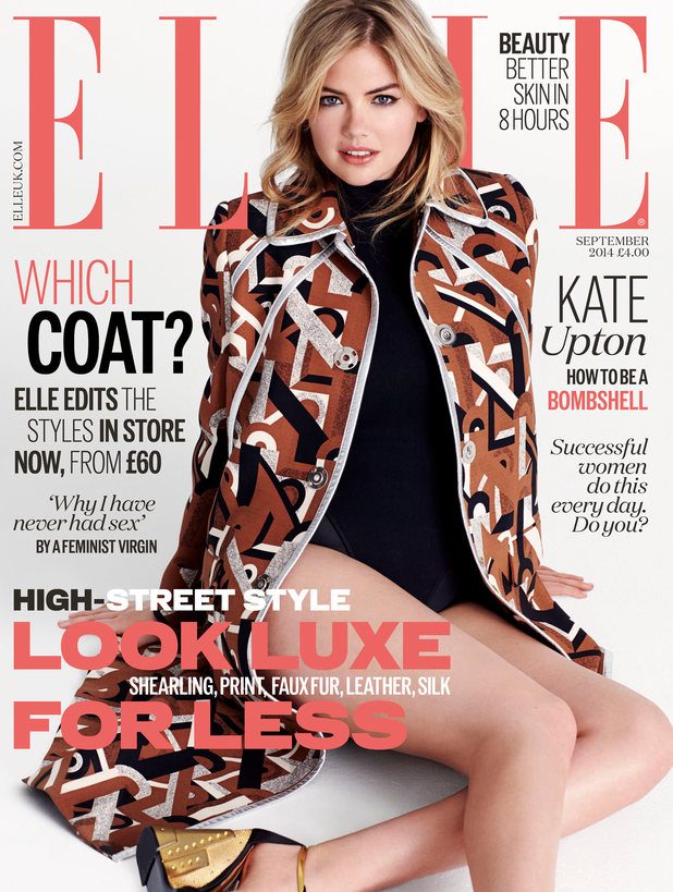 Kate Upton covers the September issue of Elle magazine