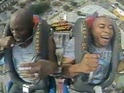 The US rapper and a friend tackle Orlando's infamous Sling Shot ride.