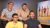 The Inbetweeners creators Damon Beasley and Iain Morris pitch questions from DS users to their stars James Buckley, Joe Thomas, Blake Harrison and Simon Bird.