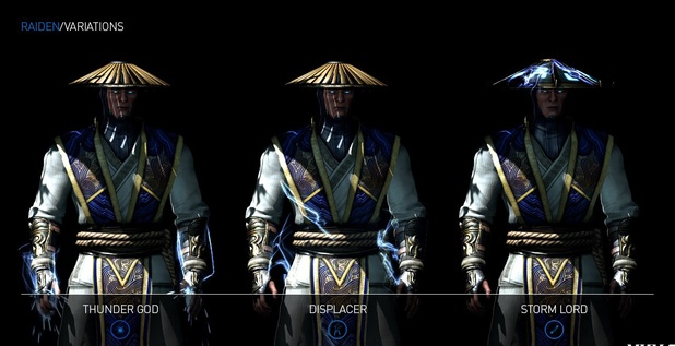Raiden variations in Mortal Kombat X