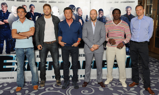 Antonio Banderas, Kellan Lutz, Sylvester Stallone, Jason Statham and Wesley Snipes and producer Zygi Kamasa attend The Expendables 3 photocall and press conference