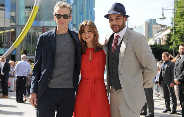 Peter Capaldi, Jenna Coleman and Samuel Anderson at the launch of the Doctor Who World Tour