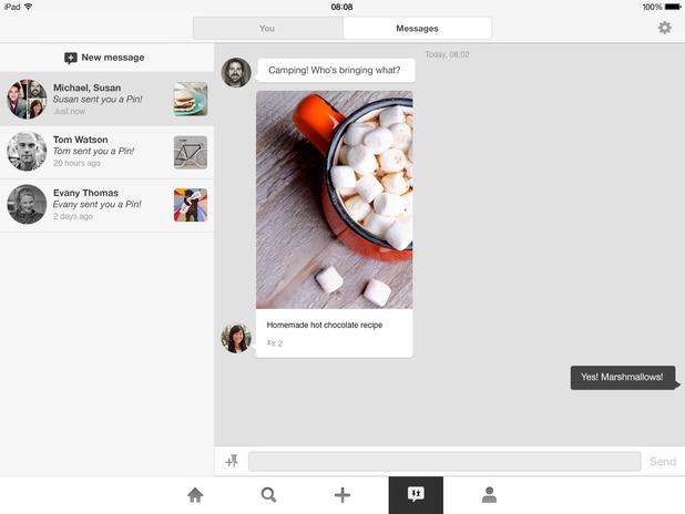 Pinterest's messaging feature on iPad