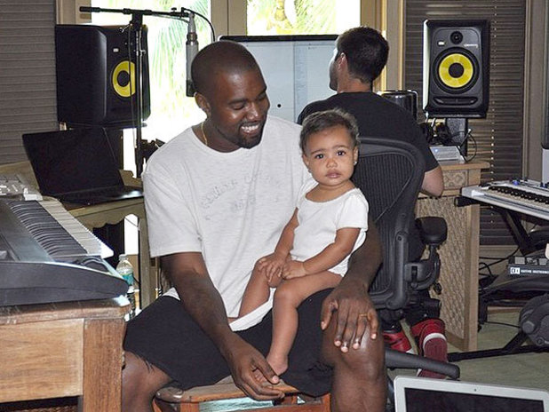 Kanye West, baby North in cute studio picture