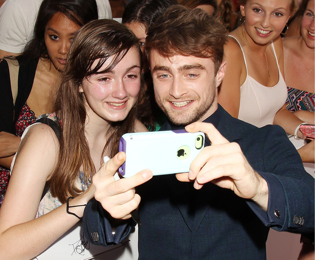 'What If' special fan film screening, New York, America - 04 Aug 2014Daniel Radcliffe with fans 4 Aug 2014