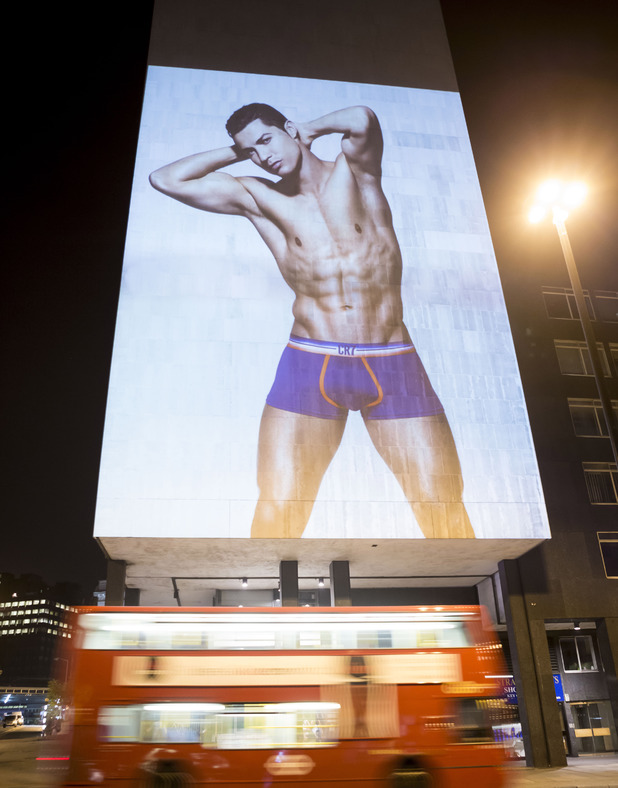 LONDON, UNITED KINGDOM - UNDATED: In this handout provided by CR7 on August 3, 2014, an image of Cristiano Ronaldo is projected on a building near Waterloo station in London. Cristiano Ronaldo officially unveils his new fashion campaign, Rankin X Ronaldo for CR7 Underwear, through large scale pop-up projections in seven cities around the world. The release celebrates the global launch of the second collection of CR7 Underwear. (Photo by CR7 Underwear via Getty Images)