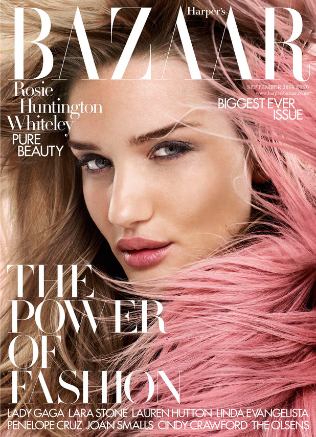 Rosie Huntington-Whiteley on the cover of Harper's Bazaar UK