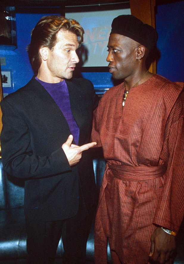 """ TO WONG FOO "" PREMIERE PARTY AT PLANET HOLLYWOOD RESTAURANT, LOS ANGELES, CALIFORNIA, AMERICA - 1995PATRICK SWAYZE AND WESLEY SNIPES 1995"