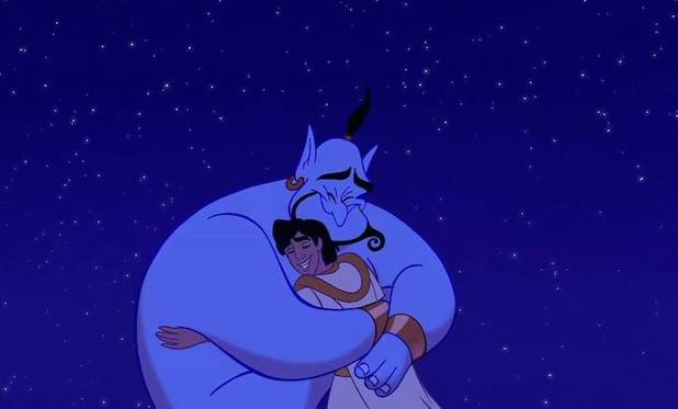 Aladdin (Scott Weinger) and Genie (Robin Williams) in Aladdin