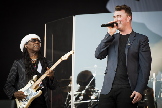 August 17, 2014: Sam Smith and Nile Rodgers at Virgin Media V Festival, Chelmsford