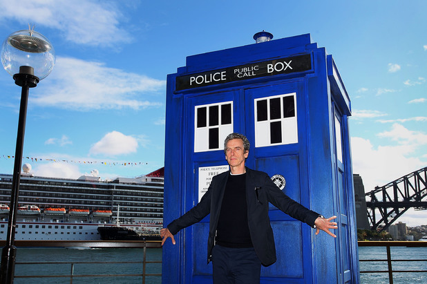SYDNEY, AUSTRALIA - AUGUST 12: Twelfth Doctor, Peter Capaldi, poses during a world tour to promote the new series of Doctor Who at Dendy Opera Quays on August 12, 2014 in Sydney, Australia. (Photo by Lisa Maree Williams/Getty Images)