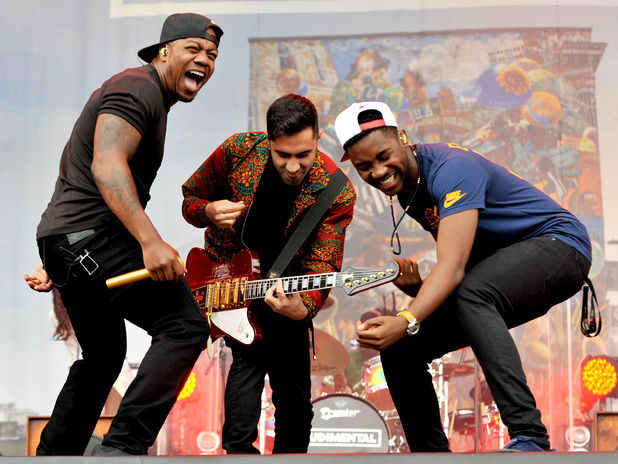 Rudimental perform on stage at V festival 2014