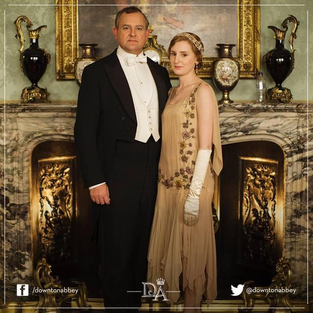 A bottle of water is accidentally left in a press shot for Downton Abbey Series 5