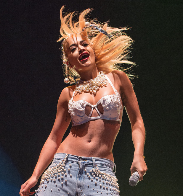 Rita Ora performs on stage at V festival 2014