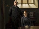 Jim Carter as Mr Carson & Phyllis Logan as Mrs Hughes in Downton Abbey series 5 launch picture