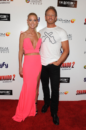 LOS ANGELES, CA - AUGUST 21: Actors Tara Reid and Ian Ziering attend the premiere of The Asylum & Fathom Events' 'Sharknado 2: The Second One' at Regal Cinemas L.A. Live on August 21, 2014 in Los Angeles, California. (Photo by Angela Weiss/Getty Images)