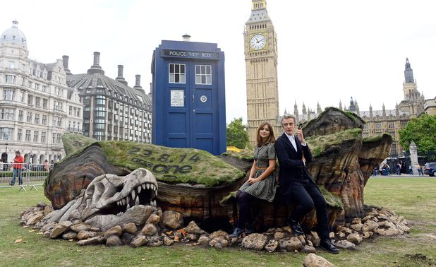 The TARDIS crash lands in Parliament Square, London