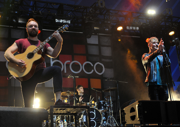 Simon Delaney, Matt Donnelly and Rob Damiani of Don Broco perform on stage at the Reading Festival